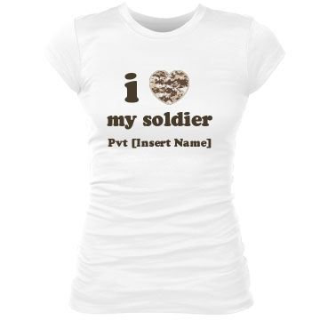 I Heart My Soldier Tee Junior Fit Bella Sheer Longer Length Rib Tee