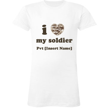 I Heart My Soldier Tee Junior Fit LA T Fine Jersey Tee