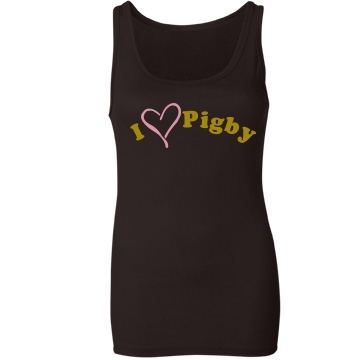 I Heart Pigby Junior Fit Bella Sheer Longer Length Rib Tank Top