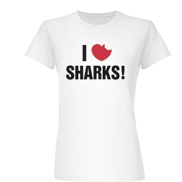 I Heart Sharks Junior Fit Basic Bella Favorite Tee