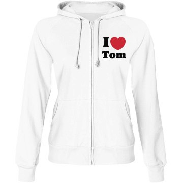 I Heart Tom Junior Fit Bella Fleece Raglan Full Zip Hoodie