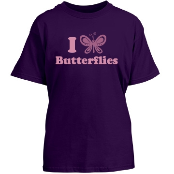 I Love Butterflies Youth Gildan Heavy Cotton Crew Neck Tee