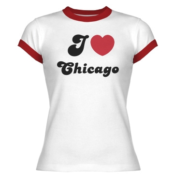 I Love Chicago Ringer Junior Fit Bella 1x1 Rib Ringer Tee
