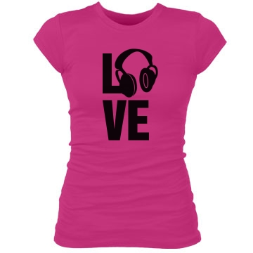 I Love Dubstep Junior Fit Bella Sheer Longer Length Rib Tee