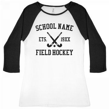 I Love Field Hockey Junior Fit Bella 1x1 Rib 3/4 Sleeve Raglan Tee