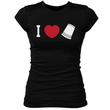 I Love Flip Cup Junior Fit Bella Sheer Longer Length Rib Tee