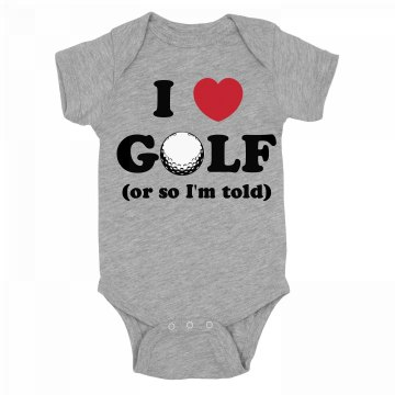 I Love Golf Onesie Infant Rabbit Skins Lap Shoulder Creeper