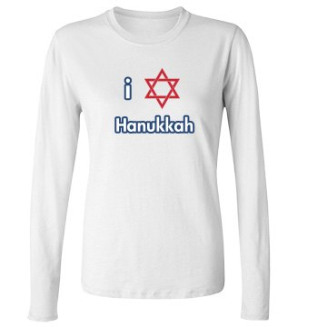 I Love Hanukkah Junior Fit Bella Long Sleeve Crewneck Jersey Tee