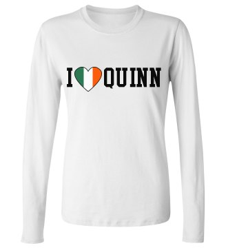 I Love Irish Heart Junior Fit Bella Long Sleeve Crewneck Jersey Tee
