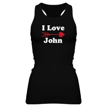 I Love John Junior Fit Bella Sheer Longer Length Rib Racerback Tank Top