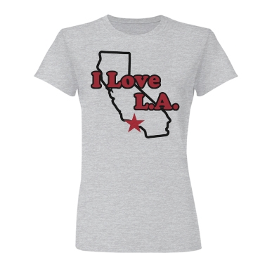 I Love L.A. Map Junior Fit Basic Bella Favorite Tee