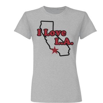I Love L.A. Map Junior Fit Basic Tultex Fine Jersey Tee