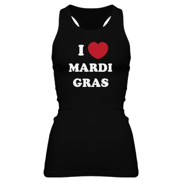 I Love Mardi Gras Junior Fit Bella Sheer Longer Length Rib Racerback Tank Top