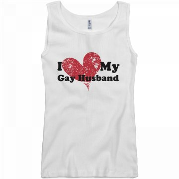 I love My Gay Husband Junior Fit Basic Bella 2x1 Rib Tank Top