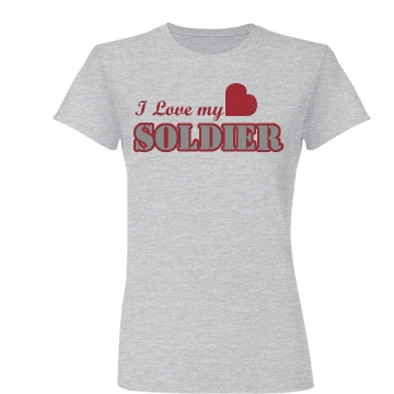 I Love My Soldier Heart Junior Fit Basic Bella Favorite Tee