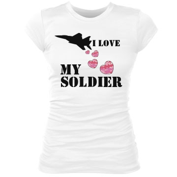 I Love My Soldier Junior Fit Bella Sheer Longer Length Rib Tee