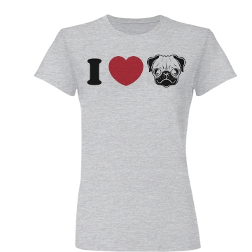 I Love Pugs Junior Fit Ba