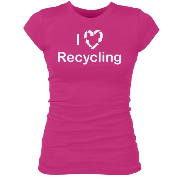 I Love Recycling Junior Fit Bella Sheer Longer Length Rib Tee