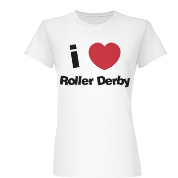 I Love Roller Derby Shirt Junior Fit Basic Bella Favorite Tee