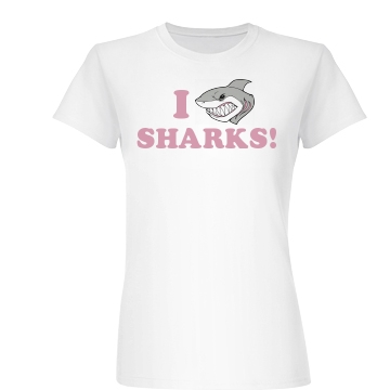 I Love Sharks Junior Fit Basic Bella Favorite Tee