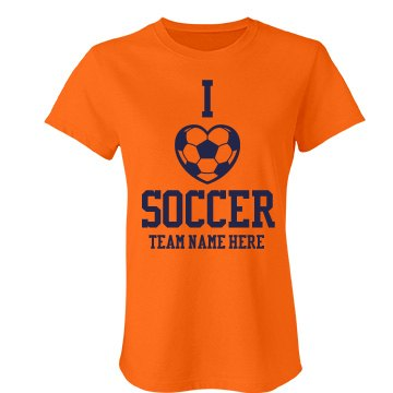 I Love Soccer Team Colors Junior Fit Bella Favorite Tee