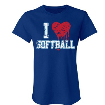 I Love Softball Distress Junior Fit Bella Favorite Tee