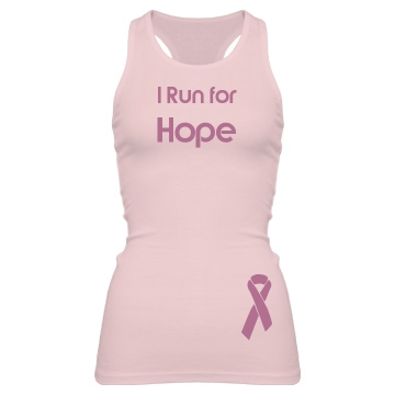 I Run for Hope Junior Fit Bella Sheer Longer Length Rib Racerback Tank Top