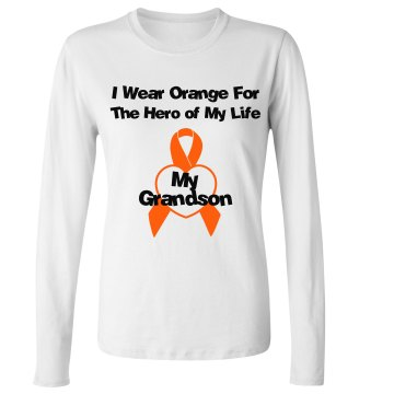 I Wear Orange For My Hero Junior Fit Bella Long Sleeve Crewneck Jersey Tee