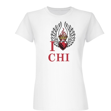 I Winged Heart Chicago  Junior Fit Basic Bella Favorite Tee