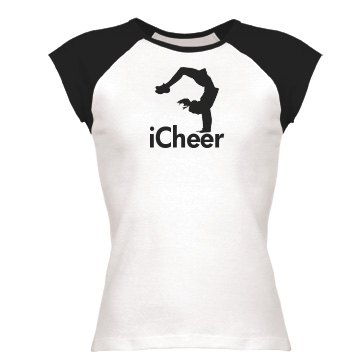 iCheer Tee Junior Fit Bella 1x1 Rib Cap Sleeve Raglan Tee