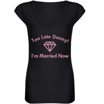 I'm Married Now Junior Fit Bella Sheer Longer Length Rib V-Neck Tee