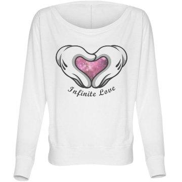 Infinite Galaxy Heart Bella Flowy Lightweight Long Sleeve Dolman Tee
