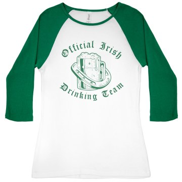 Irish Drinking Team Junior Fit Bella 1x1 Rib 3/4 Sleeve Raglan Tee