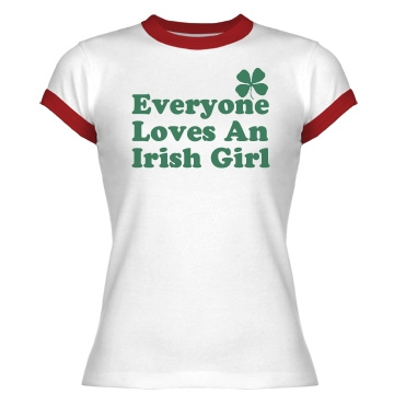 Irish Girl Junior Fit Bella 1x1 Rib Ringer Tee