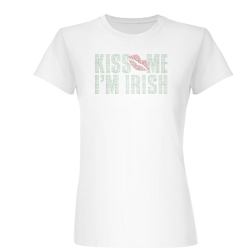 Irish Kiss in Rhinestones Junior Fit Basic Bella Favorite Tee