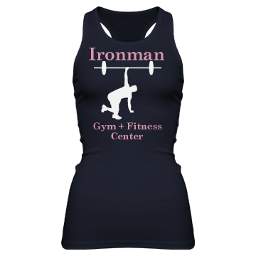 Ironman Fitness Center Junior Fit Bella Sheer Longer Length Rib Racerback Tank Top