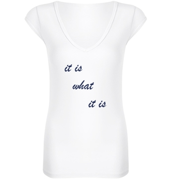 It is what it is Junior Fit Bella Sheer Longer Length Rib V-Neck Tee