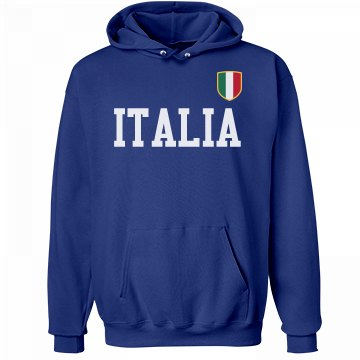 Italia Badge Hoodie Unisex Hanes Ultimate Cotton Heavyweight Hoodie