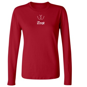 iTrot Horse Tee Junior Fit Bella Long Sleeve Crewneck Jersey Tee