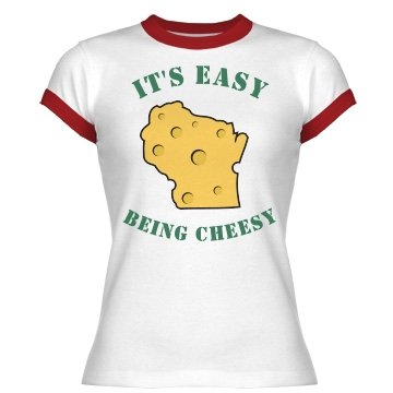 It's Easy Being Cheesy Junior Fit Bella 1x1 Rib Ringer Tee