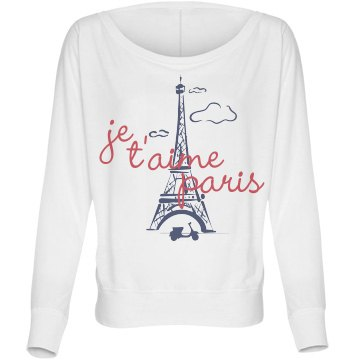 Je t'aime Paris Bella Flowy Lightweight Long Sleeve Dolman Tee