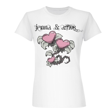 Jenna & Amos Love Tee Junior Fit Basic Bella Favorite Tee