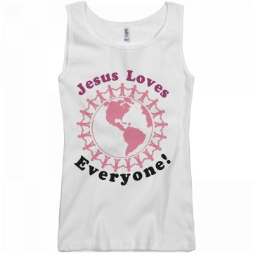 Jesus loves everyone! Junior Fit Basic Bella 2x1 Rib Tank Top