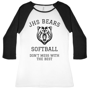 JHS Softball Team Jersey Junior Fit Bella 1x1 Rib 3/4 Sleeve Raglan Tee