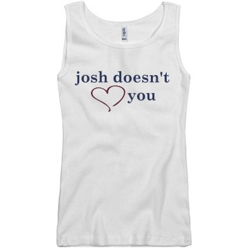 Josh Doesn't Heart You Junior Fit Basic Bella 2x1 Rib Tank Top