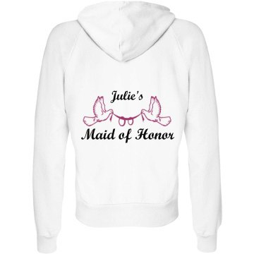 Julie's Maid Of Honor Junior Fit Bella Fleece Raglan Full Zip Hoodie