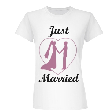 Just Married Heart Junior Fit Basic Bella Favorite Tee