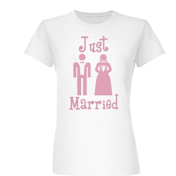 Just Married Pink Junior Fit Basic Bella Favorite Tee
