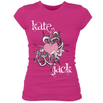 Kate & Jack Compass Heart Junior Fit Bella Sheer Longer Length Rib Tee