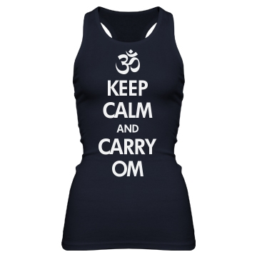 Keep Calm & Carry Om Junior Fit Bella Sheer Longer Length Rib Racerback Tank Top